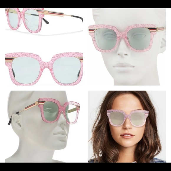GUCCI PINK SPARKLY GLITTER BLING SUNGLASSES